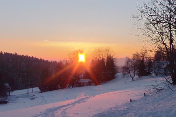 západ slunce s Ještědem